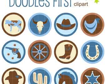 Blue Cowboy Collage Sheets for Scrapbooking Card Making Cupcake Toppers Paper Crafts Digital Collage Sheet