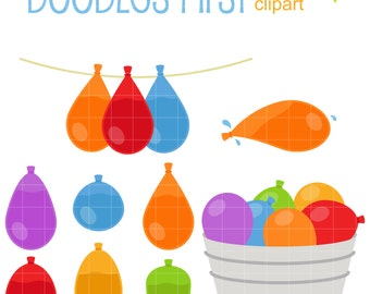 Water Balloon Set Digital Clip Art for Scrapbooking Card Making Cupcake Toppers Paper Crafts