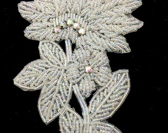 "Flower Appliqué with Iridescent White Beads and Rhinestones, 5.5"" x 4""  -9630-1169"
