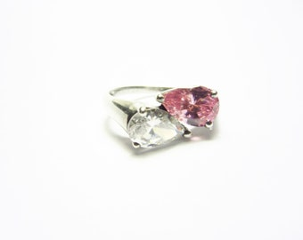 Vintage Clear Pink Cubic Zirconia Sterling Ring Size 8