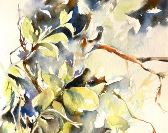 Green Leaves Watercolor Painting, ORIGINAL Painting, Modern Nature Painting, Watercolour Art