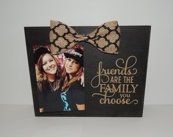 Friends/Family You Choose Country/Rustic/Burlap/QuarterFoil Black Distressed Frame