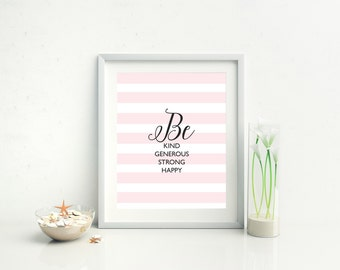 Printable Quote Pastel Stripes Wall Art Inspirational Saying Home Office Decor