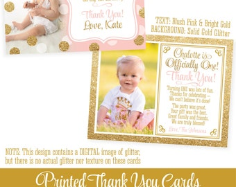 "Photo Thank You Cards - Personalized Custom Birthday Thank You Note Cards, Pink Gold Glitter - Professionally Printed FLAT Cards 5.25""x4.25"""
