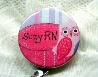 lavender and pink badge holder for nurse,id badge with owl for RN/LPN/ARNP,Christmas gift for nurse,customized badge reel nurse