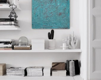 Large abstract painting canvas art huge painting big painting blue red teal white painting contemporary art canvas painting minimalist art