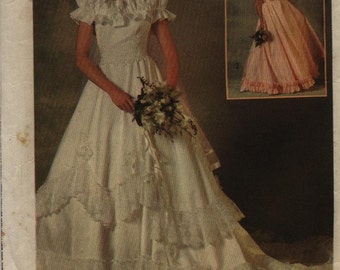 Simplicity 6766 Wedding Gown Dress 1984 Used All Parts Present Size 10