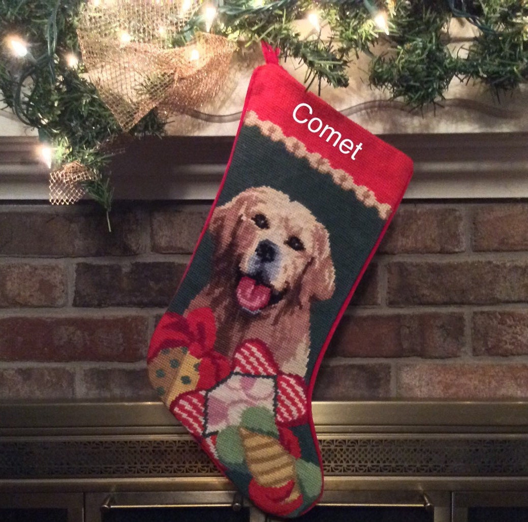 Golden Retriever Needlepoint Dog Christmas Stocking, Personalized