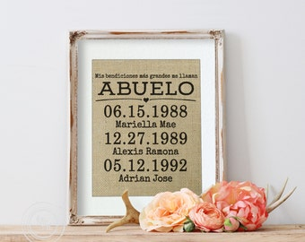 Spanish Gift for Abuelo Gift, Spanish Fathers Day, Latino Dad, Gift for Dad in Spanish, My greatest blessings in Spanish, Abuelo Birthday