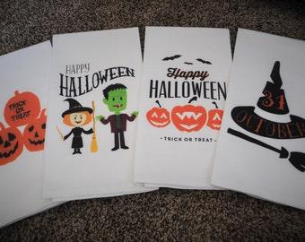 Kitchen towel, dish towel, flour sack towel, tea towel, Halloween kitchen towels,  Halloween Decor, FOUR STYLES