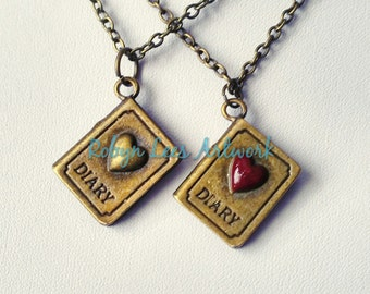 Bronze Diary Charm Necklaces with Bronze or Red Heart, Twin Peaks Laura Palmer's Secret Diary Inspired on Bronze Chain or B&W Braided Cord