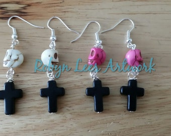 Hand Dyed Turquoise Skull and Black Stone Cross Earrings