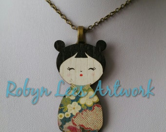 Chinese Japanese Geisha Wooden Necklace on Silver or Bronze Crossed Chain or Black Faux Suede Cord, Pretty, Lady, Oriental, Style 2