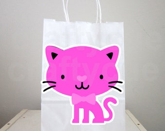 Cat Goody Bags, Cat Favor Bags, Cat Goodie Bags, Cat Party Pags, Kitty Goody Bags, Pink Cat With Bow