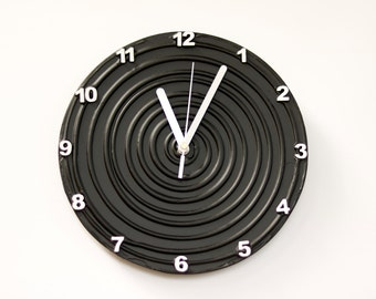 Black Clock, Black WALL CLOCK Unique wall clock, modern Black home decor minimalist  black and white wall clock