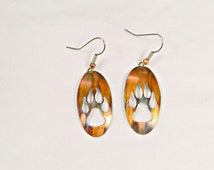 wolf print earrings, wolf paw print, flame painted wolf, torched copper wolf, wolf print jewelry, oxidized copper, dangle & drop, BC artist