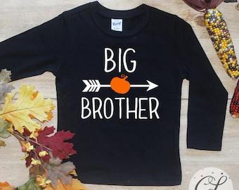 Big Brother Pumpkin Shirt / Halloween Announcement Shirt Thanksgiving Big Brother TShirt Pregnancy Announcement Fall Sibling Bodysuit 165