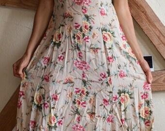 Vintage 90s tan floral maxi dress with empire waist details