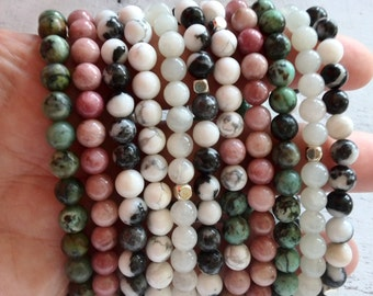 Bracelet gemstone Rhodochrosite pink, Turquoise white, African turquoise green; boho
