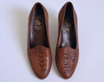 Brown Leather shoes pumps Mod heels Court shoes heeled loafers Womens shoes Summer UK 3 US 5.5 EU 36