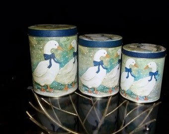 Set of 3  Vintage Tin Goose Canisters