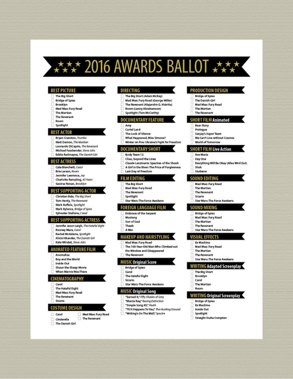 Items similar to 2016 Printable Oscar Ballot Party Pack Stars on Etsy