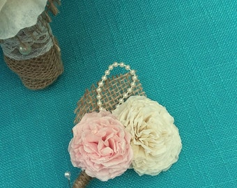 Coffee Filter Double Flower Boutonniere/ Vintage Peach & Cream/ Rustic Wedding Boutonniere/ Country Wedding/ Beach Wedding