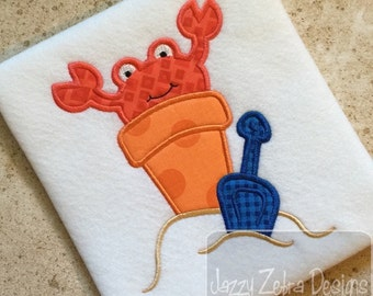 Beach Pail with Crab Appliqué embroidery Design - crab appliqué design - sand appliqué design - beach appliqué design - summer appliqué
