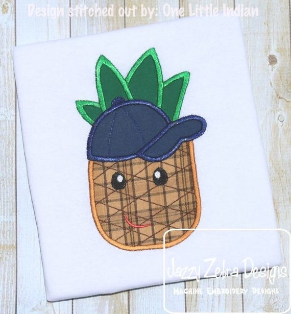 Pineapple Wearing Baseball Hat Appliqué Embroidery Design - boy appliqué design - pineapple appliqué design - summer appliqué design - fruit