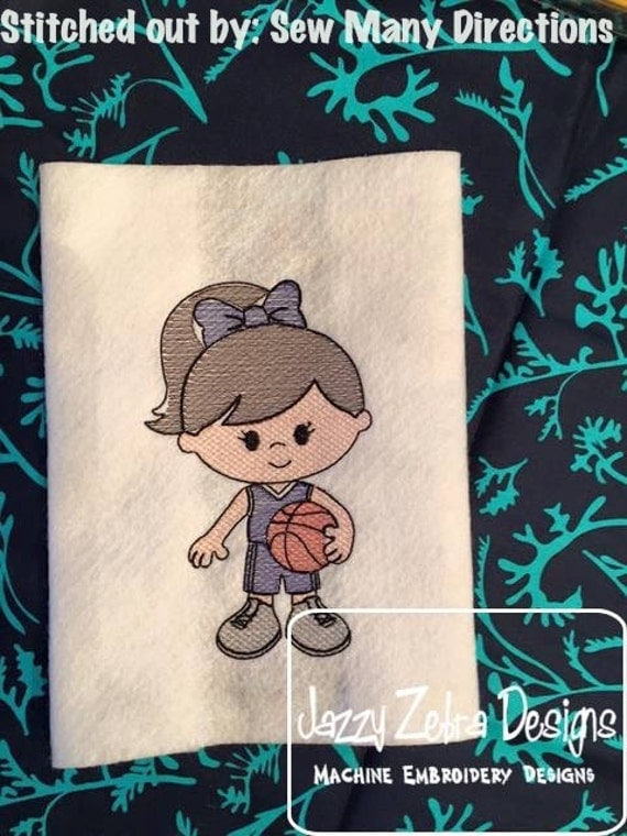Basketball Girl 2 Sketch Embroidery Design - basketball Sketch Embroidery Design - girl Sketch Embroidery Design