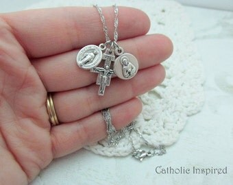 Tiny St. Francis Choose Medals & Crucifix - Stainless Steel Chain - San Damiano Cross Saint Anthony Miraculous - Mini Dainty Small Simple