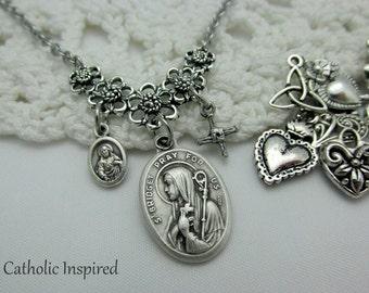 St. Bridget & Choose 2 Charms - Birgit Medal Catholic Necklace Saint Jewelry - Woven Crooked Cross Crucifix  - Ireland Irish Stainless Steel