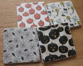 Set of 4 Tumbled Marble Tile Coasters - Halloween