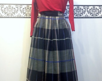 1960's Rockabilly Plaid Pleated Skirt by Clyde, Size 9/10, Vintage Pin Up Tartan School Girl Skirt, 50's Pin Up Plaid Wool Skirt Size Medium