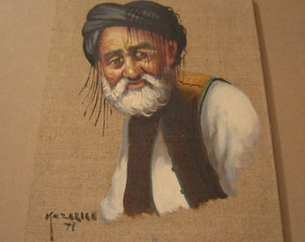 Original Persian Painting on Burlap, artist Kazarian from Iran, signed and dated, approximately 9X7