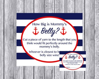Instant Download How Big is Mommy's Belly Game, Nautical Red and Navy Baby Shower, Printable Baby Shower Game, How Big is Mommy's Belly 001
