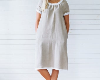 Linen dress, Gray linen tunic, Short sleeve linen summer dress with pockets, Flax summer dress, Gray linen summer dress, Linen dress gray