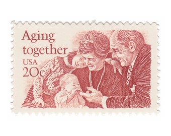 1982 20c Aging Together - 10 Unused Vintage Postage Stamps - Item No. 2011