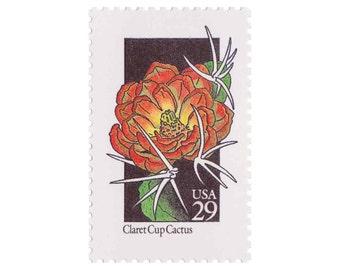 10 Unused Vintage Postage Stamps - 1992 29c Wildflower Series - Claret Cup Cactus - Item No. 2660