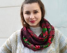 Circle floral scarf, infinity Shawl, burgundy shawl, folk hippie boho, Russian Floral Scarf, russian shawl, floral scarf, beautiful Shawl