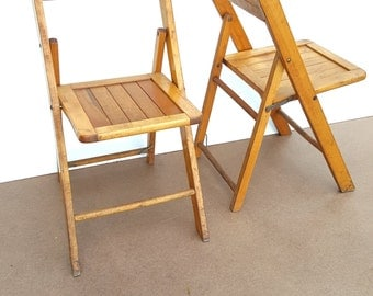 Pair Antique folding wood chairs, slated seat, oakwood chair mfg co., 1930's vintage, antique, side chair