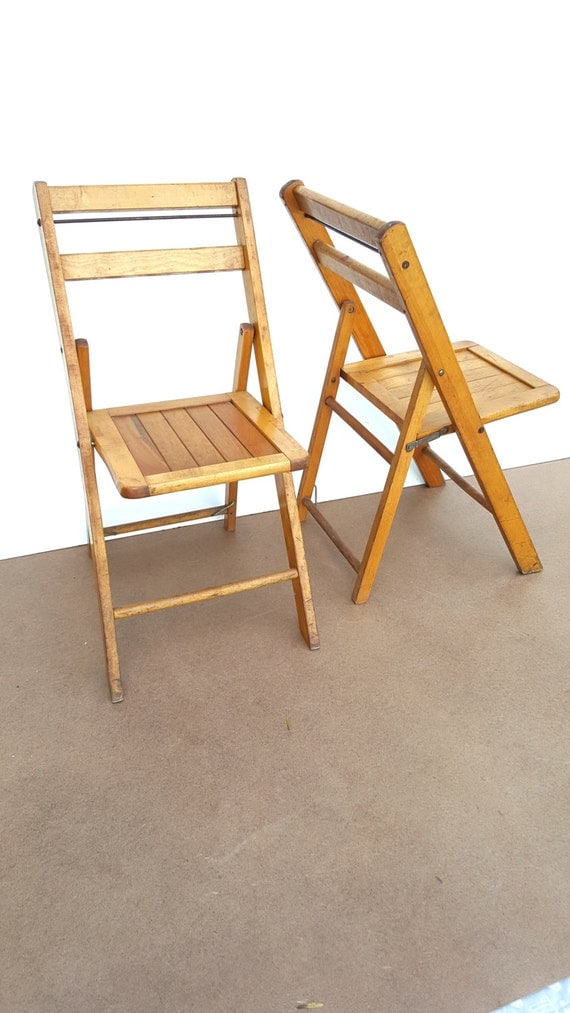 pair antique folding wood chairs slated seat oakwood chair