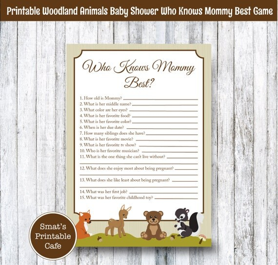 Woodland Animals Baby Shower Who Knows Mommy Best Quiz Game