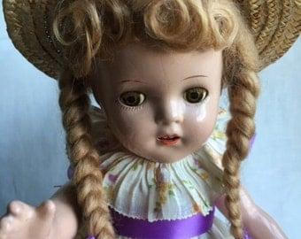 "Madame Alexander McGuffey Ana Doll — 13-14"" Composition—Good Condition Vintage"
