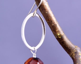 Faceted Carnelian + Sterling Silver Earrings