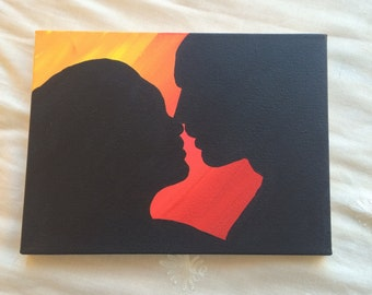Couple silhouette on pre-framed canvas (orange/red background)