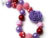 Valentine's Day Chunky Necklace- Pink Purple Red - Valentine's Day Chunky Jewelry- Valentine's Day Bubblegum Necklace-Valentine's Day Party