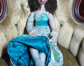 Delilah, OOAK cloth art boudoir doll