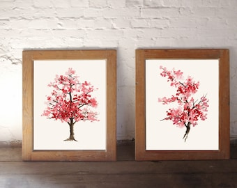 Cherry blossom painting, Pink art print, Set of 2 watercolor paintings, Home decor housewares