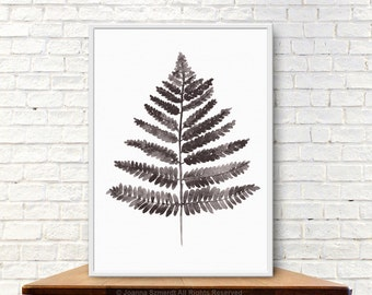 Brown Fern Painting, Cappuccino Floral Kitchen Decor, Living Room Watercolor Painting, Fern Illustration Wall Art Decor, Beige Leaf Drawing